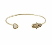 Open Hamsa Bangle White