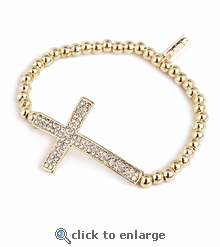 Pave Sideways Cross Gold