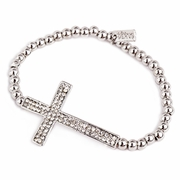 Pave Sideways Cross Silver