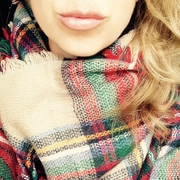 Pre Order Oversized Red Plaid Blanket Scarf