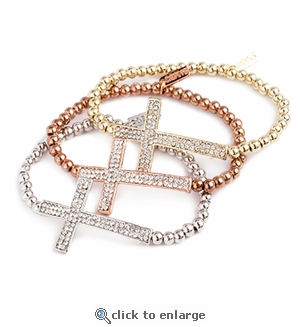 Set of 3 Pave Sideways Crosses