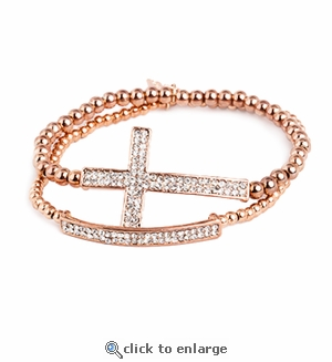 Rose Gold Cross & Rose Gold Bar Bracelet Set