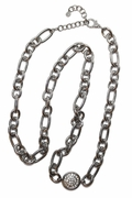 Silver Chain Link with Pave Disc