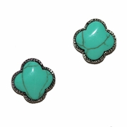 Turquoise Clover Studs