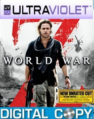 World War Z  SD UltraViolet UV Code + Digital Copy