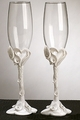 Crystal Heart Lily Wedding Champagne Toasting Flutes