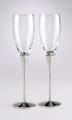 Elegant Silver Wedding Toasting Flutes with Crystals