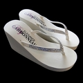 Ivory or White High Wedge Bridal Flip Flops with Crystal Accented Sued