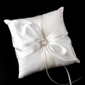 White Ring Pillow with Sliver Heart Brooch