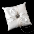 White Ring Pillow with Small Fleur De Lis Brooch