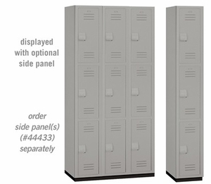 "Heavy Duty Plastic Locker - Triple Tier - 6' High - 18"" Deep - Gray, Tan or Blue"