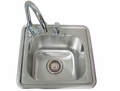 "Sink with Hot/Cold Water Faucet & Built-in Soap Dispensor 15"" x 15"" x 9"" by FLO Grills�"