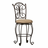 Linon Furniture - Gathered Back Counter Stool - 02790MTL-01-KD-U