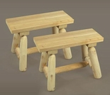 2' Straight Log Style Bench- Set of 2
