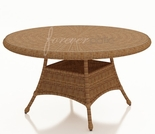 "30"" Round Wicker Forever Patio Catalina Dining Table with Glass Top"