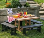 Berlin Gardens Resin 8 Seat Square Picnic Table Set
