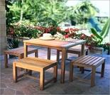 Three Birds Charleston Teak 4 Person Dining Set