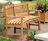 "Oxford Garden Essex Curved 83"" Shorea Garden Bench"