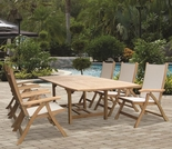 "Family Teak 72"" - 96"" Expansion Table Set w/6 Florida Sling Chairs"