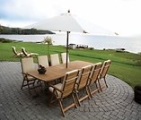 "Gala Teak 84"" - 102"" - 120"" Double Leaf Expansion Table Set & 8 Estate Chairs"