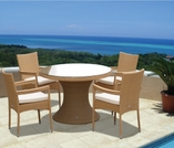 """Helena Wicker 48"""" Table w/ 4 Stacking Chairs - Color Options"""