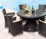 """Helena Wicker 60"""" Table w/ 6 Chairs - Color Options"""