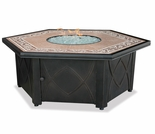 LP Gas Firebowl w/ Decorative Tile Mantel
