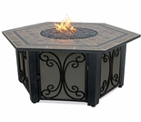 LP Gas Hexagonal Firebowl w/ Slate Mantel