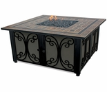 LP Gas Square Firebowl w/ Slate Tile Mantel