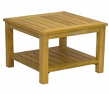 "Three Birds Newport Teak 24"" Table with Shelf"