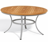 "Oxford Garden Travira 48"" Round Teak Top Dining Table"
