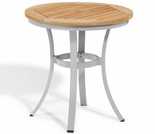 "Oxford Garden Travira Round Cafe Teak Top Bistro Table - 24"" or 36"" Dia"