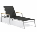 """Oxford Garden Travira Sling Chaise Lounge w/ Teak Armcaps (Set of 2) - Sling Color Options - """"Spring Event"""" Reduced Pricing"""