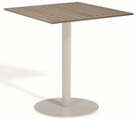 "Oxford Garden Travira Square Tekwood Top Bar Table - 24"", 32"" or 36"" Dia"