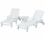 POLYWOOD� Nautical 3-Piece Chaise (with Arms) Set
