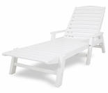 POLYWOOD� Nautical Wheeled Chaise with Arms - Stackable
