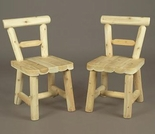 Solid Seat Log Style Indoor Dining Chair- Set of 2 - Closeout Pricing!