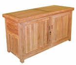 "Teak 62"" Cushion Box w/ Front Door - Out of Stock til Apr"