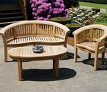Teak Half Moon Bench Set - Currently Out of Stock