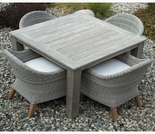 Three Birds Shelburne Teak & Wicker 4 Seat Dining Set