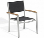 Oxford Garden Travira Sling Armchairs w/ Teak Armcaps (Set of 2) - Sling Color Options