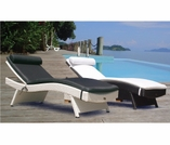 Wave Wicker Sun Bed Lounge Chair Group - 2 Piece Set