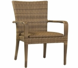 Whitecraft by Woodard All -Weather Wicker Padded Seat Dining Arm Chair