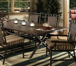 Whitecraft by Woodard Chatham Run Wicker Rectangular Dining Table with Faux Wood Top