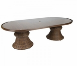"""Whitecraft by Woodard North Shore Wicker Woven 42"""" x 84"""" Oval Dining Table"""