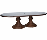 "Whitecraft by Woodard North Shore Wicker Woven 42"" x 84"" Oval Dining Table"