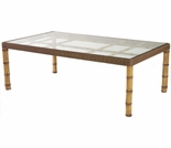 Whitecraft by Woodard South Terrace Wicker Rectangular Dining Table with Glass Top