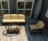 Wicker Forever Patio 3 Pc Leona Deep Seating Sofa Set