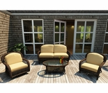 Wicker Forever Patio 4 Pc Leona Deep Seating Loveseat Set