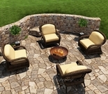 Wicker Forever Patio 4 Pc Leona Swivel & Lounge Chair Chat Set